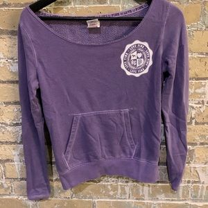 Small PINK Off Shoulder Purple Crew Neck